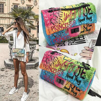 Lady Designer Shoulder Bag Graffiti Jumbo Handbag Flip Envolope Corssbody Clutch