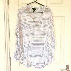 FREE New Look size 10 White and pale blue stripey shirt