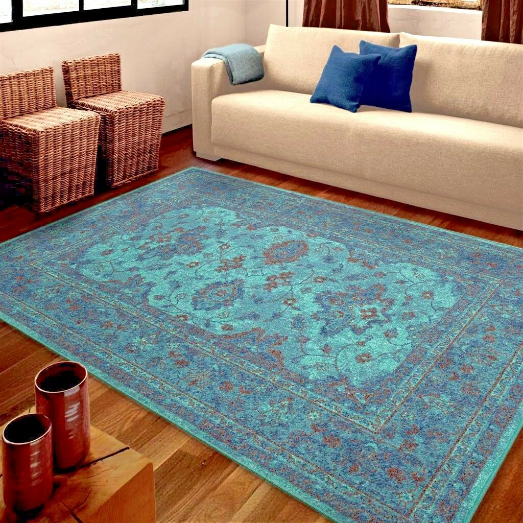 rugs area rugs carpet 8x10 area rug oriental persian living room large blue rugs ebay. Black Bedroom Furniture Sets. Home Design Ideas