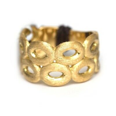 New MARCO BICEGO 18K Yellow Gold Siviglia 2 Row Link Ring Size 7