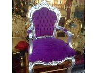 Purple & silver French style chair