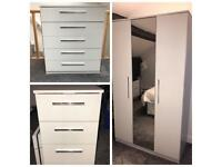 Set of 3 white bedroom furniture