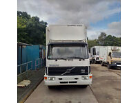 Left hand drive Volvo FL614 180 HP Turbo 14 Ton fridge freezer box lorry with tail lift.
