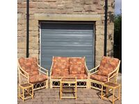 Conservatory or outside garden summerhouse 3 piece bamboo furniture set with nest of tables