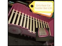 Girls Race Car Toddler Bed