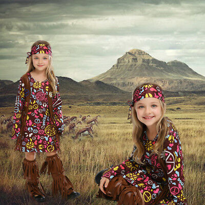 Peace & Love Boho Hippie Costume for Girls Dress Headband Shoes Cover Set](Hippie Costumes For Teens)