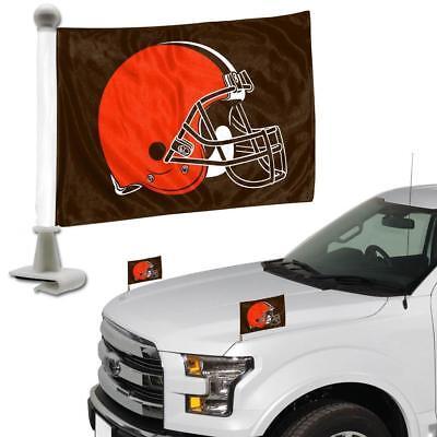 Cleveland Browns Ambassador Car Flag 2 Piece Set  [NEW] NFL Banner Sign Truck Cleveland Browns 2 Piece Car