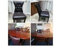Dining table and 4 faux leather chairs