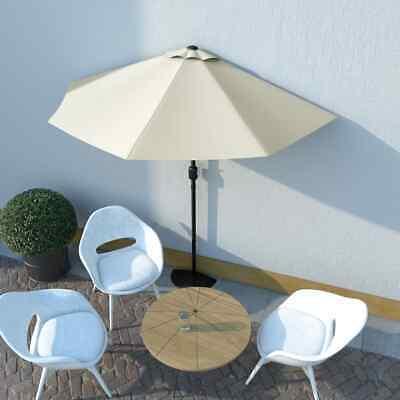 vidaXL Balcony Parasol with Aluminium Pole Sand 270x135cm Half Garden Umbrella