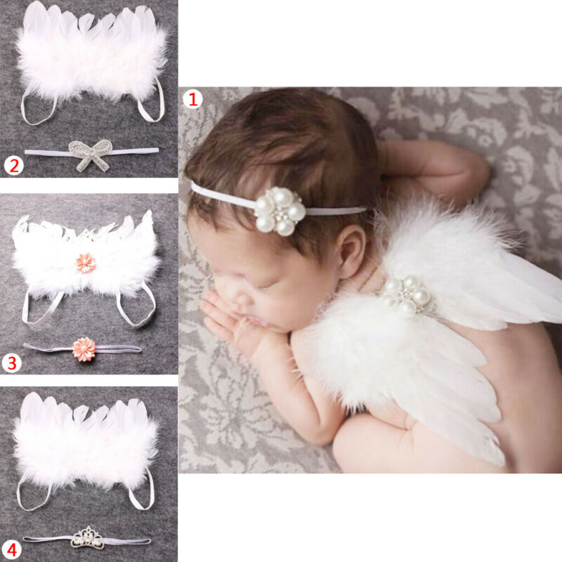 Newborn Baby Headband & Wing Costume Angle Photo Props Outfits Sets Dress Up