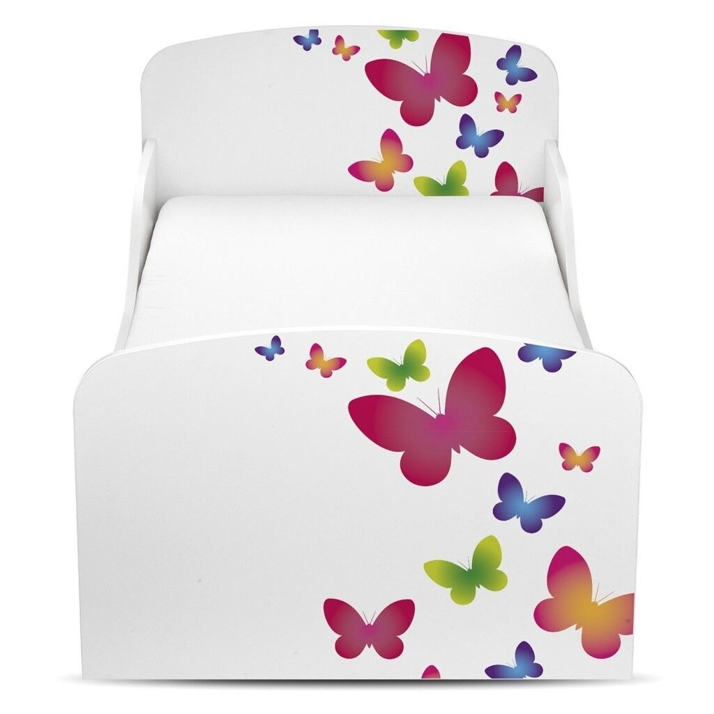 Girls Toddlers Butterflies MDF Bed With Mattress
