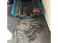 Tools box with spanners and ratchets
