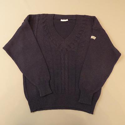 Mens ADIDAS Vintage Navy Blue V-Neck Cable Knit Jumper Sweater Medium #E1354 ()