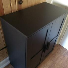 Ikea black cupboard / TV stand with shelving