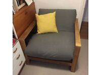 Lovely Futon Company one seater sofa bed / arm chair - almost new