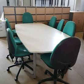 Used Boardroom conference meeting table and 8 green chairs