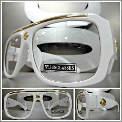 Mens CLASSIC RETRO HIP HOP RAPPER Style Clear Lens EYE GLASSES Thick White Frame