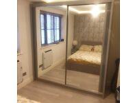 double mirror sliding door wardrobe