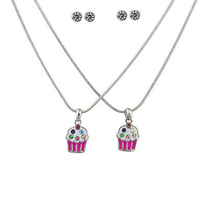 Lux Enamel Cupcake Crystal Sprinkles BFF Best Friends Matching Necklace - Crystal Sprinkles