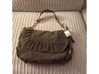 Brand new khaki suede effect handbag