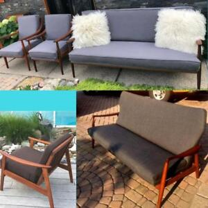 REFINISHED REUPHOLSTERED Mid Century Modern Teak and Walnut Sofas and Lounge Chairs from $599