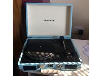 Light blue Crosley turntable record player