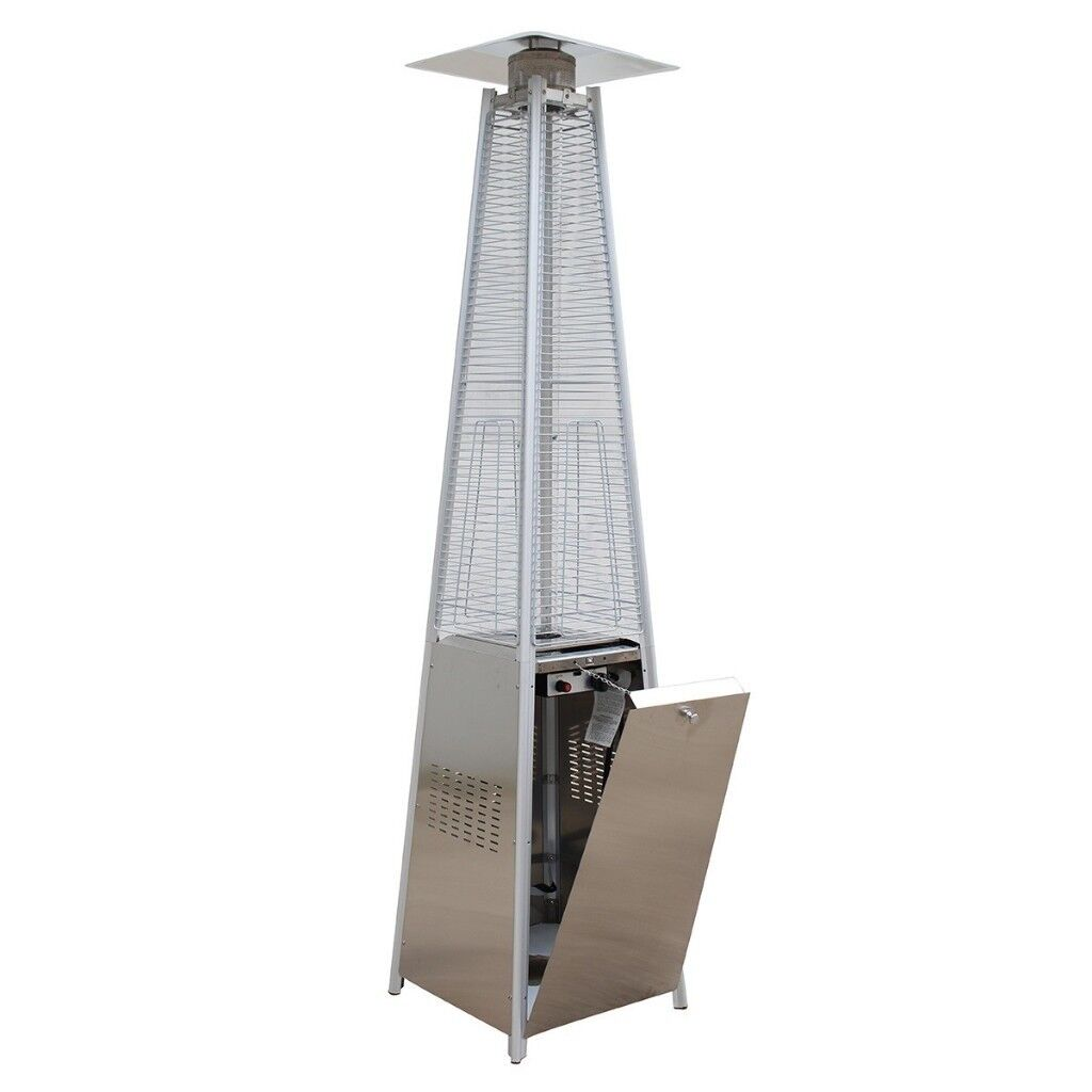 Costway 13kw Gas Patio Heater Flame Stainless Steel Pyramid Garden Outdoor W Wheel