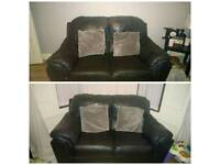 2x 2 seaters black leather