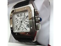 New boxed with papers black leather bracelet white dial butterfly deployment clasp cartier santos
