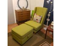 Armchair and stool, wingback, Green fabric
