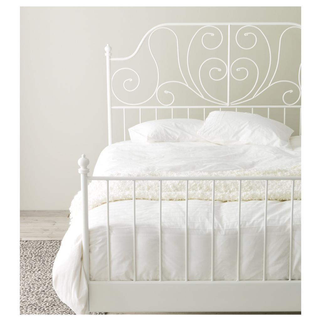 Ikea White Metal Vintage Style Double Bed Frame Delivery In