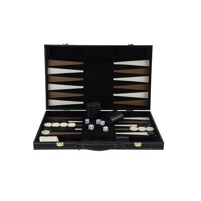 """Deluxe 18"""" imitation leather black felt backgammon folding case"""