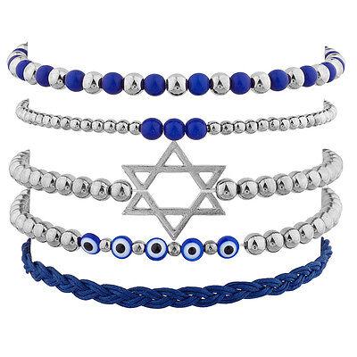 Lux Accessories Silvertone Jewish Hanukkah Arm Candy Set (5PC)](Hanukkah Accessories)