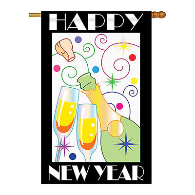 Happy New Year - Applique Decorative House Flag - H116007-P2