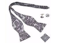 Bow Tie Cuff Links Hanky Set Silk Grey Cufflinks Wedding Bowtie Handkerchief