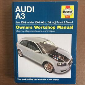 Haynes Audi A3 Jun 2003-Mar 2008 (03-08 reg) petrol & diesel owners workshop manual. H/back. £5 ovno