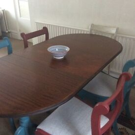 Retro shabby chic extendable dining table 6 chairs