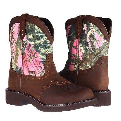 Ladies Aged Bark - Justin Ladies Gypsy Aged Bark/Pink Camo Boot L9610