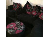 Corner sofa, swivel chair, footstool