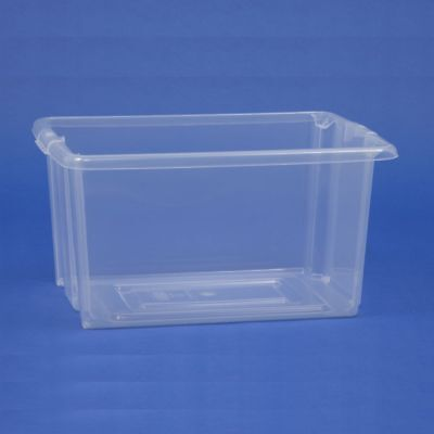Transparente Plástico Apilable Estantería Almacenaje Papeleras Cajas