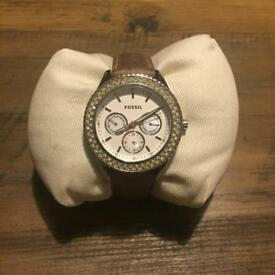 Fossil White Dial Tan Leather Ladies Watch