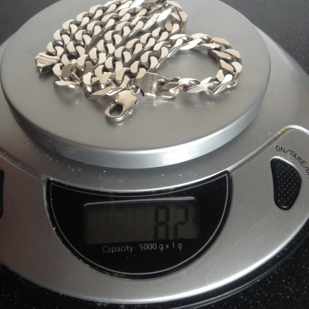 Mens silver curb chain 82g