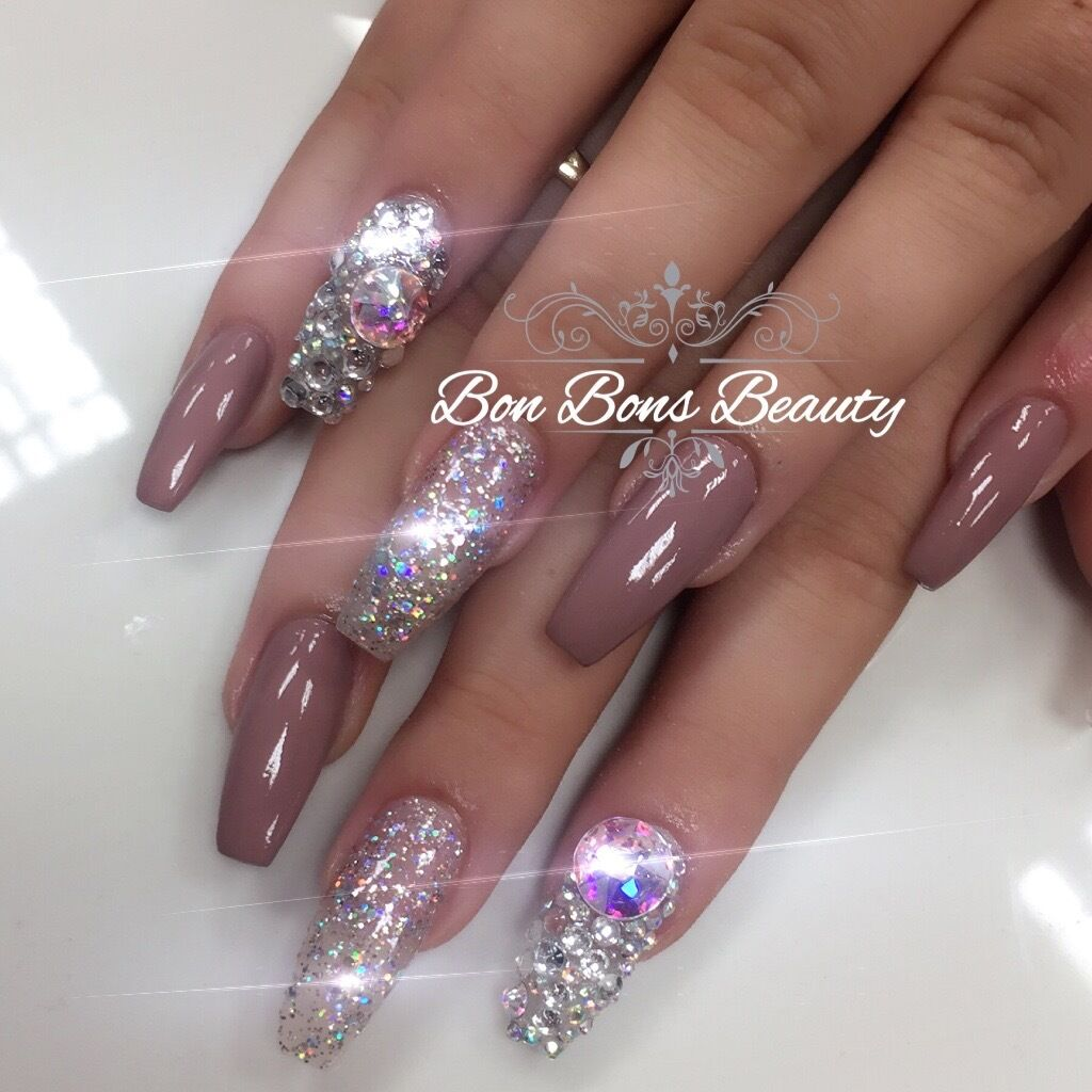 Acrylic nails 3d chrome ombre mermaid full set for Acrylic nails salon