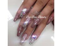Acrylic nails 3D, chrome, ombre, mermaid, full set, shellac, eyelashes, East London Beauty Salon