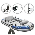 Intex Opblaasbootset Excursion 4 met trolling motor en beuge