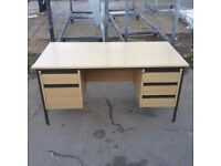 Light oak desk with 2 built in pedestals