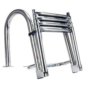 Echelle pour ponton / Premium Stainless Folding Rear Entry Pontoon Boat Ladder w/ Extra Wide Step