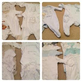 38 Boys Sleepsuits inc Velour & 32 Vests