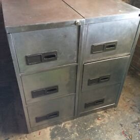 2 stripped metal filing cabinets £100 for both