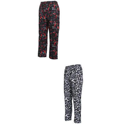 2 Pieces Chef Pants Restaurant Uniform Kitchen Trousers Work Wear Unisex